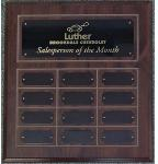 "Cherry Finish ""Routed"" Perpetual Plaque - black plates"